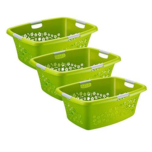 Rotho Flowers 3er-Set Wäschekorb Flowers 50l, Kunststoff (PP) BPA-frei, grün, 3 x 50l (65,1 x 49,0 x 26,2 cm)