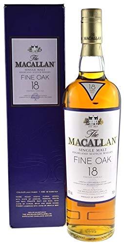 Rarität: Macallan Whisky 18 Jahre Fine Oak 0,7l mit lila Geschenkverpackung - Single Malt Scotch Whisky