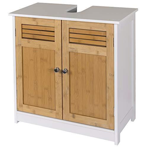 EUGAD Mueble de Baño Armario Bajo Lavabo Mueble para Debajo de Lavabo Mueble Lavabo de Baño Almacenamiento con 2 Puertas 60 x 30 x 60 cm Blanco/Natural 0118WY