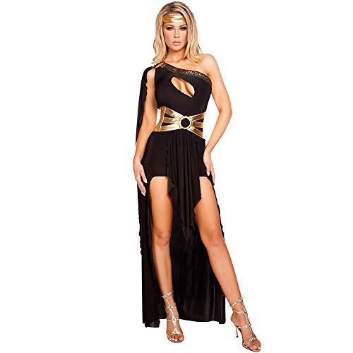 XYFW Diosa Sexy Cosplay Vestido De Fiesta De Navidad Diosa De Grecia De Halloween Vestido De Princesa rabe Disfraz De Halloween Tamao Completo,Negro,XL