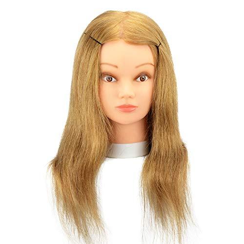 Tête de mannequin d'entraînement en cheveux 100% naturels Doré 30,5 à 50,8 cm