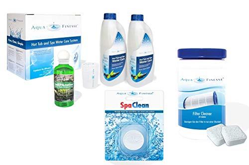 AquaFinesse Whirlpool Wasserpflege Set Chlortabletten + Whirlpoolduft inSparation GRATIS, Filterreiniger Tabs, Spa Clean Puck