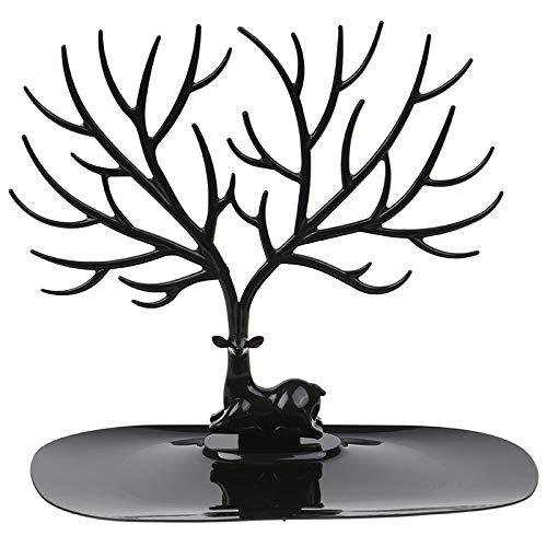 Soporte de exhibición de árbol de ciervo, organizador de joyas, estante para árbol para aretes de tuerca, collar para mujeres, niñas
