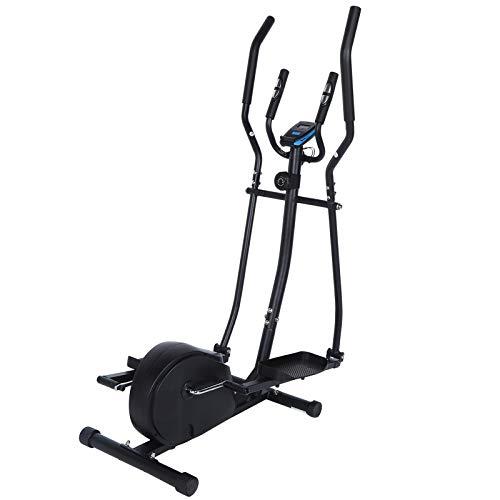 Ausla Bicicleta elíptica con pantalla LCD digital, entrenador elíptico magnético para adultos para gimnasio en casa (negro)