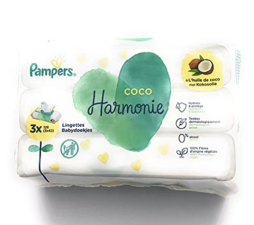 Pampers - Toallitas de coco armonía, con 100 % fibras de origen vegetal y sin alcohol ni colorante, juego de 3 x 42 toallitas (total 126 toallitas)
