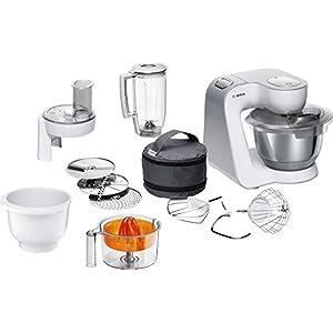 Bosch MUM58W56DE 1000W 3.9L Gris, Acero inoxidable, Color blanco - Robot de cocina (3,9 L, Gris, Acero inoxidable, Blanco, Giratorio, 0,5 L, 1,1 m, Acero inoxidable): Amazon.es: Hogar