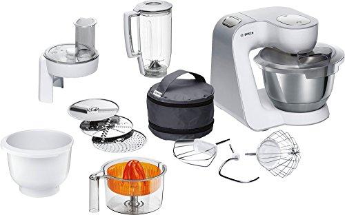 Bosch MUM5 CreationLine Küchenmaschine MUM58243, vielseitig einsetzbar, große Edelstahl-Schüssel (3,9l), Kunststoffschüssel, Durchlaufschnitzler, Mixer, Zitruspresse, 1000 W, weiß/silber