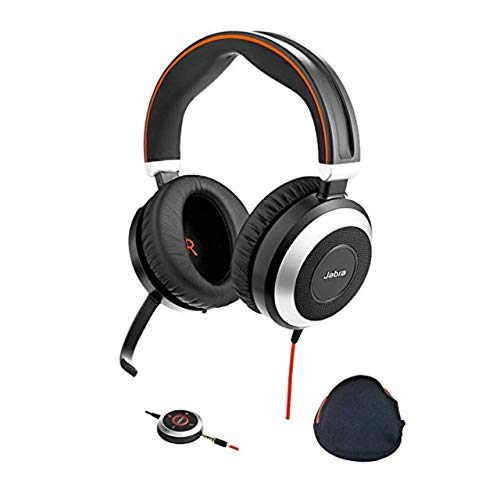 Jabra PC and Smartphone Headphones with Active Environmental Noise Canceling, Mic   Evolve 80   PC Compatible Softphones and Apps - Cisco Jabber, Webex, Skype, Dragon, Audio Streaming