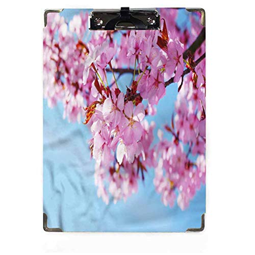Portapapeles de decoración floral tamaño carta perfil bajo clip japonés Sakura Blossom Hardboard para aulas, oficinas, restaurantes, oficinas de doctor