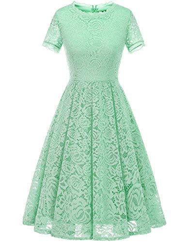 DRESSTELLS Damen Midi Elegant Hochzeit Spitzenkleid Kurzarm Rockabilly Kleid Cocktail Abendkleider Mint L