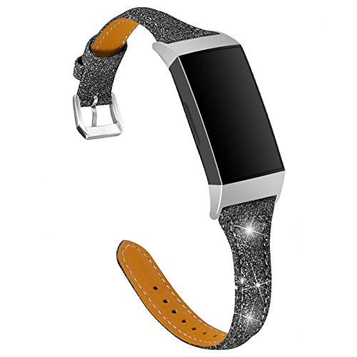 GhrKwiew Charge 3 SE Leather Band, Slim Shiny Genuine Leather Reemplazo Bandas Glitter Fitness Correa para Fitbit Charge 3/ Charge 4 (Negro)