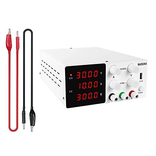 RUZIZAO Alimentatore DC regolato, alimentatore da laboratorio per la regolazione fine, alimentatore da tavolo con interruttore del display a quattro cifre (alimentatore 30V10A)