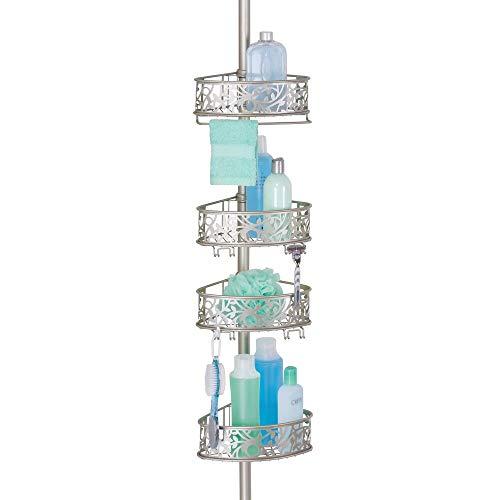 mDesign Shower Caddy für die Ecke aus Metall – ausziehbares Duschregal ohne Bohren fürs Bad – stilvolle Duschablage für Shampoo, Conditioner etc. – mit floralem Muster – mattsilberfarben