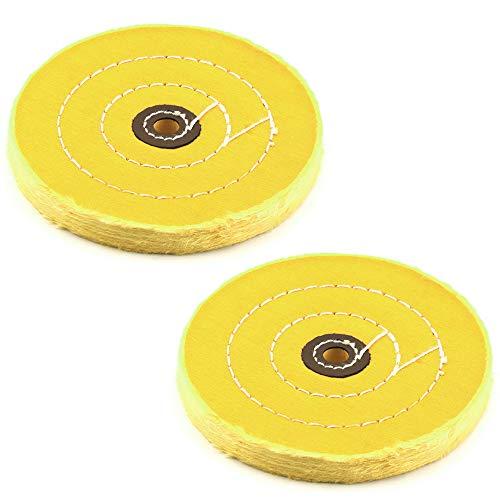 IWILCS Rueda de pulido, almohadilla de pulidoamarillo, rueda de pulido, herramienta de pulido,máquina de disco único, para metal-aluminio, acero inoxidable,cromo (2 piezas, 6 pulgadas y 50 capas)
