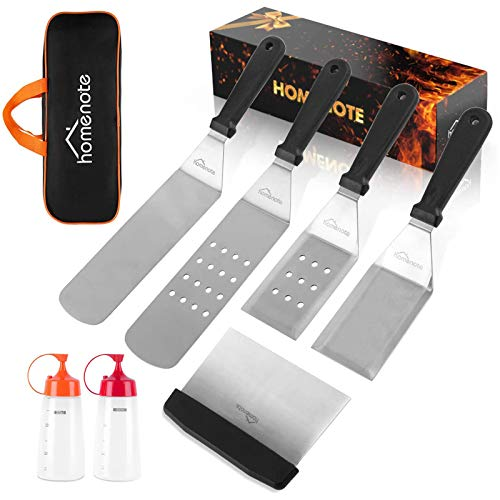 HOMENOTE Griddle Accessories Kit, 7-Pieces Exclusive Griddle Tools Long/Short Spatulas Set - Commercial Grade Flat Top Grill Cooking Kit - Great for Outdoor BBQ, Teppanyaki and Camping