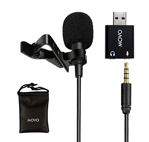 Movo Universal Lavalier USB Microphone for Computer with USB Adapter Compatible with Laptop, Desktop, PC and Mac, Smartphones, Cameras, Podcasting, Remote Work and Laptop Microphone (20-Foot Cord)