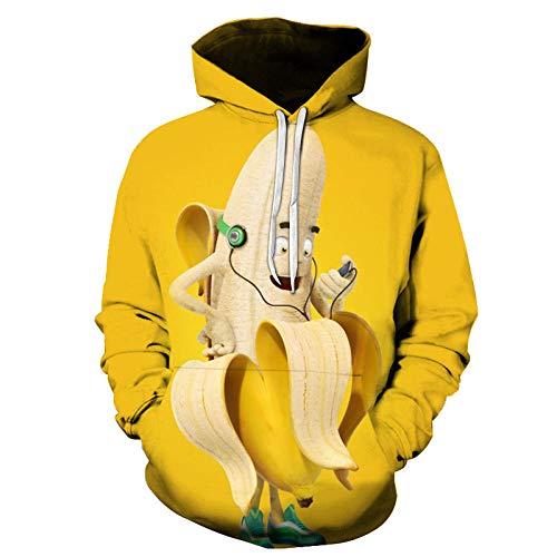 NSBXDWRM 3D Druck Kapuzenpullover,Unisex Fashion Sweatshirt Männer Frauen Neuheit Kreativ Lustig Banane Digital Print Pullover Paar Übergrößen Lange Ärmel Mit Taschen Lose Freizeitaktivitäten Hoodie
