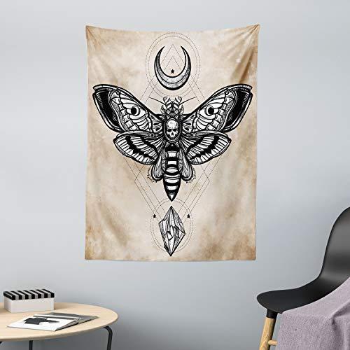 ABAKUHAUS Fantasie Wandteppich & Tagesdecke, Hawk Moth Skull Magic, aus Weiches Mikrofaser Stoff Wand Dekoration Für Schlafzimmer, 110 x 150 cm, Weiß Schwarz & Creme
