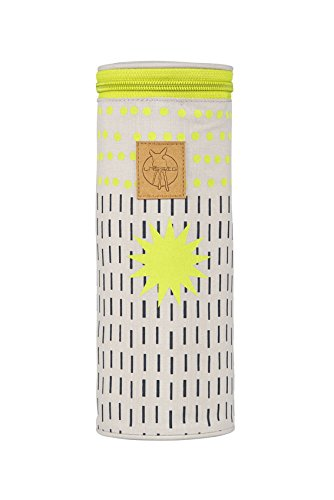 LÄSSIG Baby Flaschenwärmer Isoliert Wickelaccessoire Babyflasche Muttermilch unterwegs/Casual Bottle Holder, Dots & Strokes lime