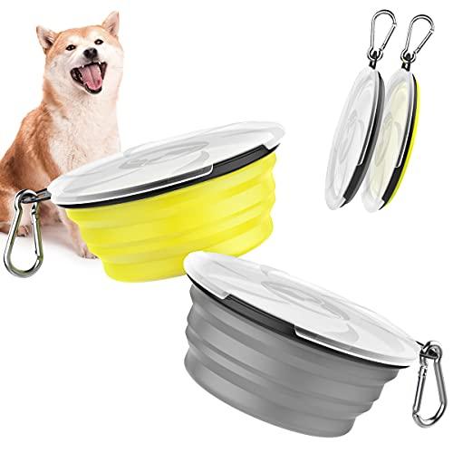 Pawaboo 2PZS 450ML Cuencos de Viaje de Silicona con Tapas y Mosquetones para Perros Gatos, Alimentador de Agua Plegable Portátil, Tazones para Perros de Uso Doméstico para Caminar - Gris+Amari