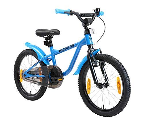 LÖWENRAD Kinderfahrrad für Jungen und Mädchen ab 5 Jahre | 18 Zoll Kinderrad mit Bremse | Fahrrad für Kinder | Blau