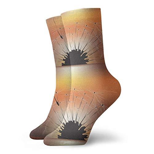 LLeaf Calcetines deportivos para hombre Calcetines deportivos de poliéster Diente de león y calcetines para correr al atardecer Calcetines de entrenamiento para hombres y mujeres