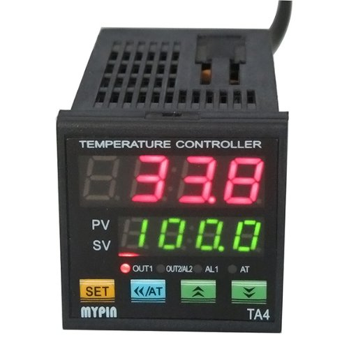 F/C PID Temperature Controller, AGPtEK Dual Display Digital Programmable Temperature Control TA4-SSR Solid State Relay with 2 Alarms