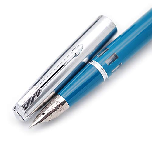 czxwyst 601A Steel Cap Vacumatic Fountain Pen (Blue-Green with ink window)