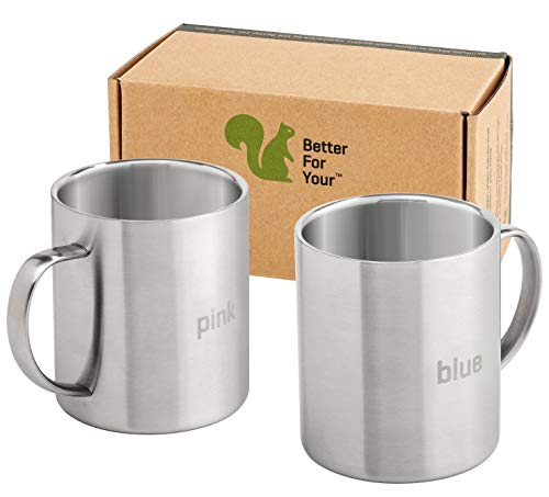 Coffee Mugs Stainless Steel - Double Wall - with Laser Words Red & Green -13.5oz - Metal Coffee Mug  - http://coolthings.us