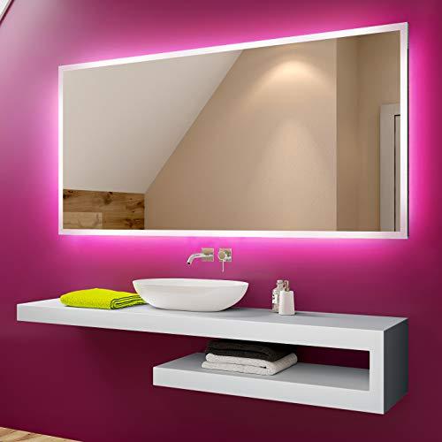 Espejo de baño moderno e iluminado, fabricado a medida con marco luminoso...