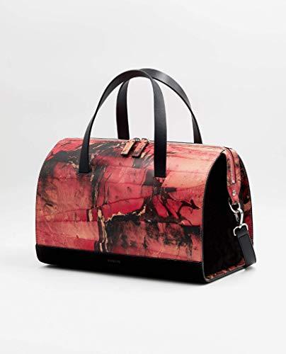 SOOFRE Berlin Marmor Leder Bowler Bag SOPHIE Damen Umhängetasche Schultertasche Henkeltasche Handtasche Bowling-Tasche, Rot | Schwarz