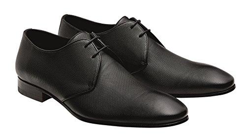 Moderne Lederschuhe der Marke Wilvorst in der Farbe Schwarz mit leichter Prägung in matter Optik Größe 44