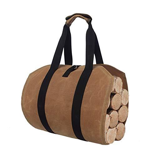 """Stor lærredstaske, 38 """"x 16"""" kraftig voksbehandlet pejs Brændetaske til indendørs brændeovne udendørs camping (brun)"""