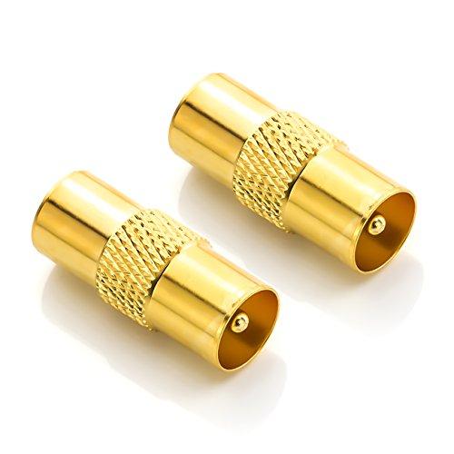 deleyCON Antennen Adapter Kupplung Verbinder Koax Stecker (IEC) auf Koax Stecker (IEC) Geschirmt Vergoldet TV Kabel Koaxialkabel Fernsehkabel - 2 Stück