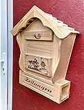 DARLUX Spitzdach Holzbriefkasten Postkasten mit Zeitungsfach aus Holz, Vollholz, Massivholz hell naturfarben ohne Lasur, Naturhaus, Holzhaus, Briefkästen Postkasten