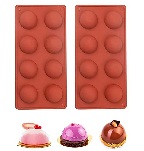 Semi Sphere Silicone Mold 2PCS 8-Cavity Baking Mold 2 Pack Baking Mold for Making Chocolate Cookie Cake Jelly Dome Mousse