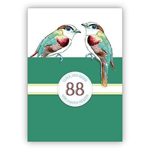 Elegante klassieke verjaardagskaart voor 88. verjaardag met vogels in groen: 88 geluk en zegen van het hele hart • rechtstreeks verzenden met uw tekst als inlegger • om te feliciteren met envelop