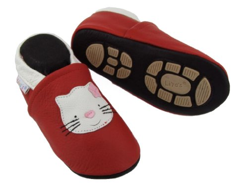 Liya's Sommerpuschen mit Gummisohle - #635 Katze in rot