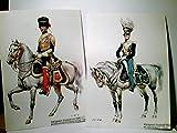 Königreich England. 2 x Künstler AK farbig v. W. Tritt, ungel., 1 x 1822 - 4th Light Dragoons / Officer. Serie I 19091. 1 x 1840 - Bundlecund - Legion ( Indische Armee ) - Offizier. Uniformen, Mil ...