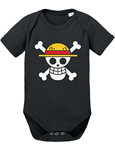 Ruffy Straw Hat Logo Baby Strampler Body Luffy Ruffy One Monkey Anime Piece Zoro, Farbe:Schwarz;Größe:68