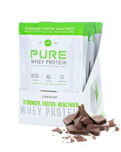 Pure Whey Protein Powder (Chocolate) by SFH | Best Tasting 100% Grass Fed Whey | All Natural | 100% Non-GMO, No Artificials, Soy Free, Gluten Free | (10 Single Serve Pouches)