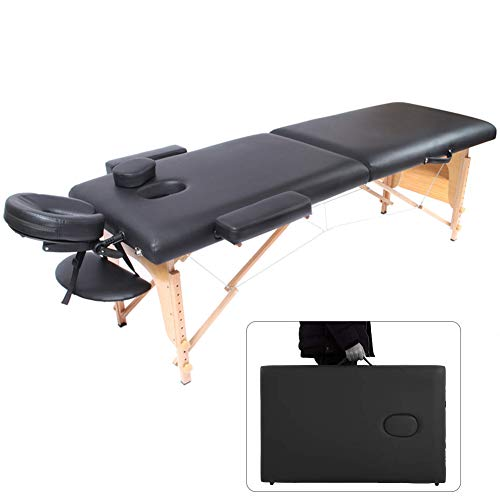 Why Choose FAIRYPIE 2 Fold Black Wooden Super Soft Multi-Function Massage Table, Lightweight and Portable Coach Bed with Face Hole Adjust Height with A Carry Bag Black