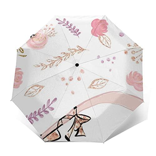 Paraguas de viaje a prueba de viento automático portátil rosa brillante floral bailarina vestido negro pelo marrón pequeña mochila plegable paraguas para hombres mujeres