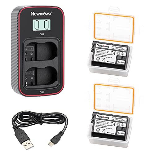 Newmowa EN-EL15 Batería de Repuesto (Paquete de 2) y Cargador USB Dual con Pantalla LCD Inteligente para Nikon EN-EL15 y Nikon 1 V1,D500,D600,D610,D750,D800,D800E,D810,D810A,D850,D7000