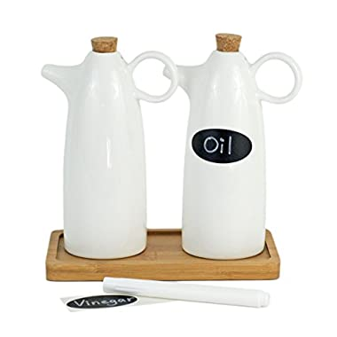 Yizi Zakka White Porcelain Tabletop Oil and Vinegar Bottle / Dispenser, Set of 2 with Bamboo Base, Liquid Chalk Pen & Reusable Labels, 300ml / 10oz Each, Cruet Set, Liquid Sauce Bottles