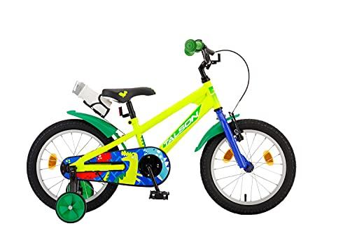 TALSON 16 Zoll Fahrrad ASAF mit Trinkflasche und Stützrädern Grün