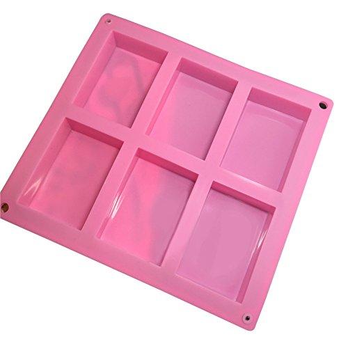 Dosige 6 vormen, rechthoekige vorm, vorm in rechte hoek, vorm voor zeep, knutselgereedschap, chocoladevorm, suikerpasta, bakgereedschap, broodvorm, siliconenvorm, willekeurige kleur, afmetingen 23,5 x 21,2 x 2,5 cm