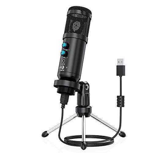 USB Mikrofon, ENC PC Kondensator Mikrofon Gaming Mikrofon Plug & Play mit Stativ und Pop Filter für Gesangsaufnahme, Podcasting, Streaming von iMac, PC, Laptop, Desktop