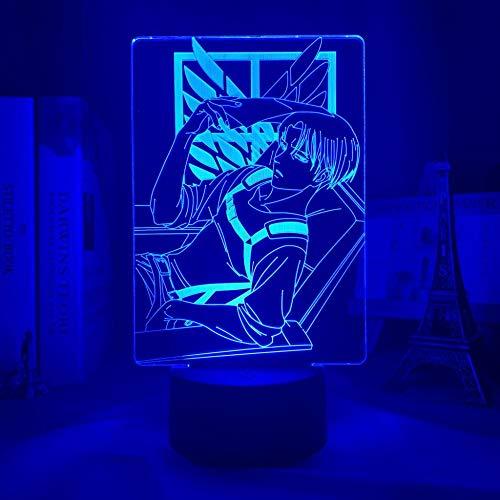 Lámpara LED de noche de alta calidad en 3D de Levi Ackerman Anime ataque al titanio para decoración de la habitación del hogar, regalo infantil, capitán Levi Ackerman