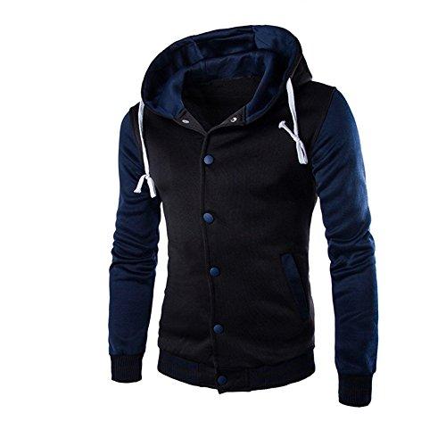 MRULIC Herren Kapuzenpullover Hoody Sweater Winter Warm Outwear Sweatshirt Button-down Strickpullover RH-053